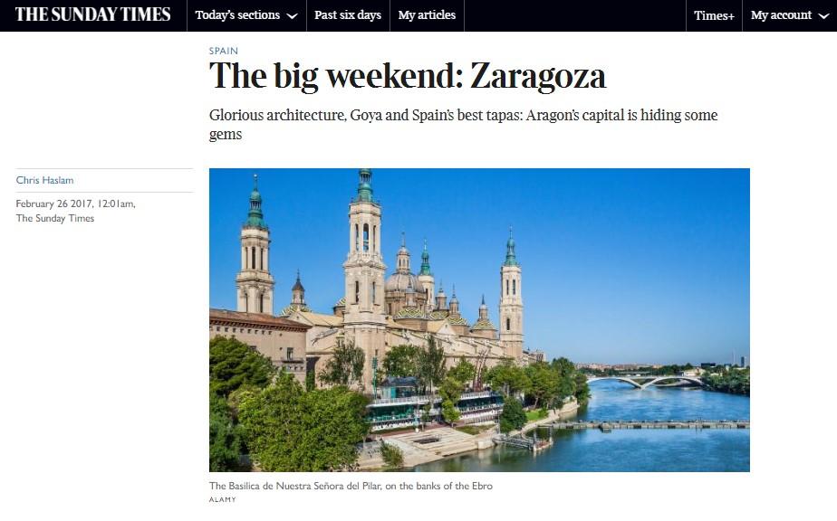 Las tapas de Zaragoza y los atractivos de la ciudad, en The Sunday Times