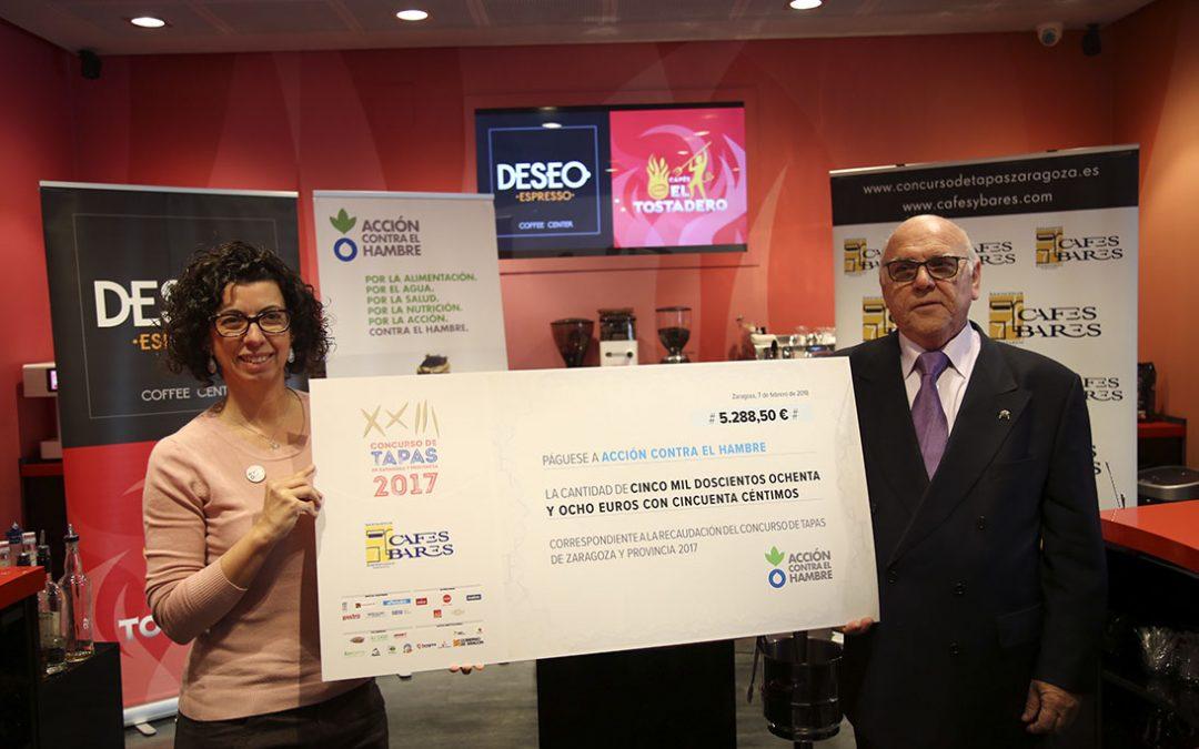 Cafés y Bares entrega los más de 5.000 euros recaudados durante el Concurso de Tapas de Zaragoza